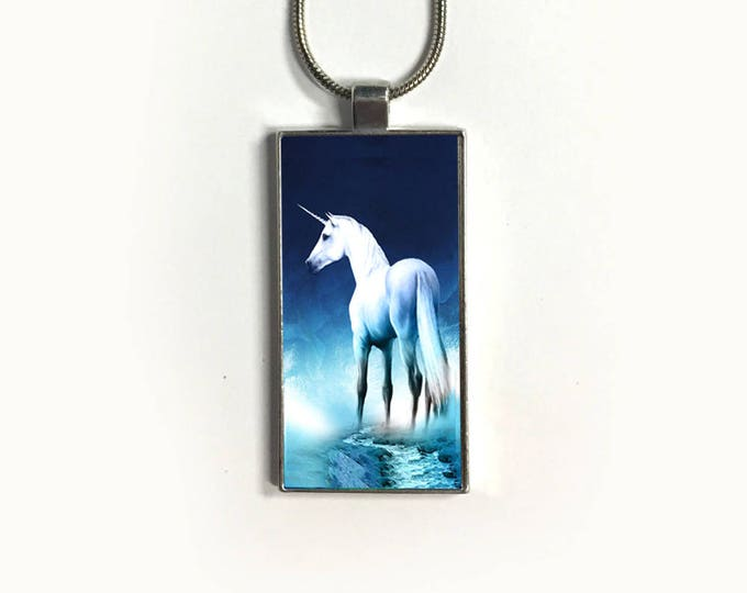 Unicorn necklace, Chain, Pendant, silver plated, Fantasy, sublimation, gift for friend, gift for her