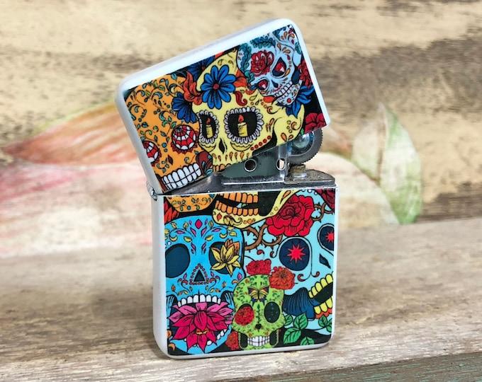 Featured listing image: Sugar Skull Dios de la muerte flip Lighter