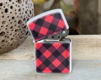 Buffalo Red and Black Plaid flip lighter, Gift for Him, Groomsmen, Bachelors, Fathers Day