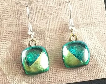 Green & Turquoise Dichroic Glass Fused Earrings. Glass Fusion Jewelry