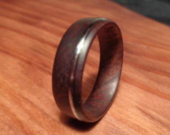 Wood Ring,Manzanita Wood Ring with guitar string Inlay,Handmade Wooden Band,Manzanita Jewelry, Manzanita Ring, Wedding Ring, Engagement Ring