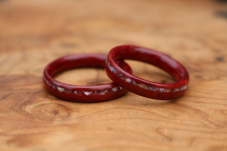 Wood wedding band ring set Redwood burl ring set with white quartz crystal and mother of pearl offset inlays