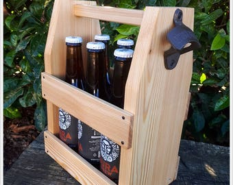 Wooden six pack beer carrier, Wooden Beer Carrier, Wooden Beer Caddy, Father's Day gift, Personalized Birthday Gift, Home Brew, Iron Opener