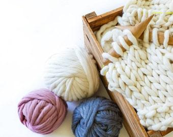 Super Chunky Coloured Merino Yarn - 500g for arm knitting or giant knitting. Dyed giant yarn. Jumbo wool for super size crochet. Milieu yarn