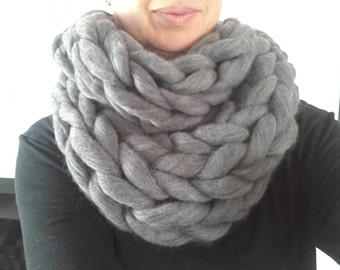 Infinity Scarf. Grey. Super chunky handmade Australian merino infinity scarf in dark charcoal grey