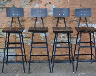 Reclaimed Urban Bar Stools Set Of 4 With Steel Backs Modern Salvaged Barn Wood Fast Shipping
