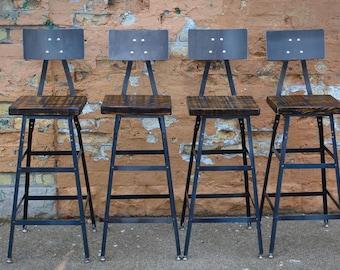 Astonishing Reclaimed Urban Bar Stools Set Of 4 With Steel Backs Etsy Pdpeps Interior Chair Design Pdpepsorg
