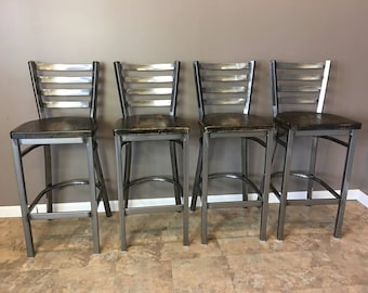 Reclaimed Bar Stool Set Of 4 In Gun Metal Gray Metal Finish Etsy