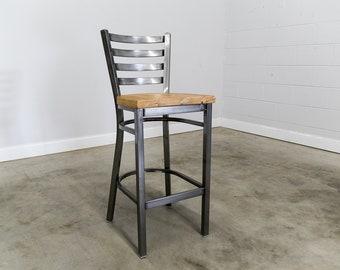 Pleasing Reclaimed Bar Stool Set Of 4 In Gun Metal Gray Metal Finish Inzonedesignstudio Interior Chair Design Inzonedesignstudiocom