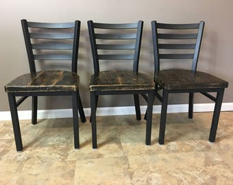 Reclaimed Dining Chair Flat Black Metal Finish Ladder Back Etsy