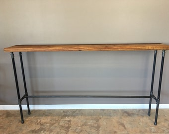 Entry Table, Hallway Table, Nook Table,42 Inch High,Bar Height Wood Table,  Pipe Table, Reclaimed Wood . FREE SHIPPING