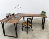 L shape Desk made with reclaimed wood