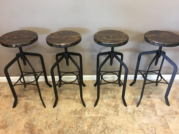 Cool Set Of 4 Reclaimed Wood Counter Bar Height Stool With Swivel Seat Industrial Urban Bar Stool Lamtechconsult Wood Chair Design Ideas Lamtechconsultcom
