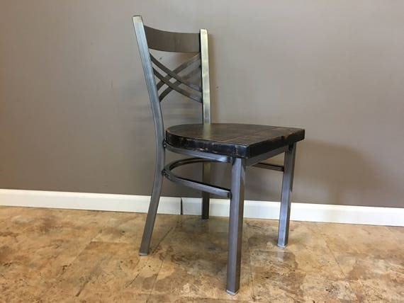 Reclaimed Dining Chair In Gun Metal Gray Metal Finish X Etsy