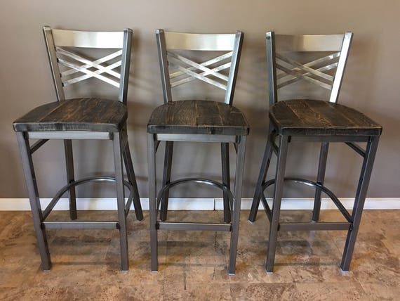 Reclaimed Bar Stool Set Of 3 In Gun Metal Gray Metal Finish Etsy