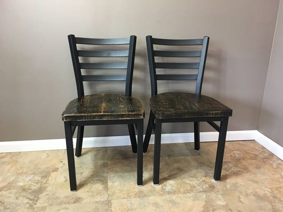 Reclaimed Dining Chair Set Of 2 Flat Black Metal Finish Etsy