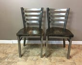 Reclaimed Dining Chair Set of 2 In Gun Metal Gray Metal Finish Ladder Back Metal Restaurant Grade -18 Inch High Dining Chair