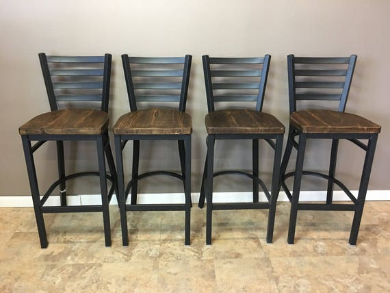 Reclaimed Bar Stool Set Of 3 In Black Metal Finish Etsy