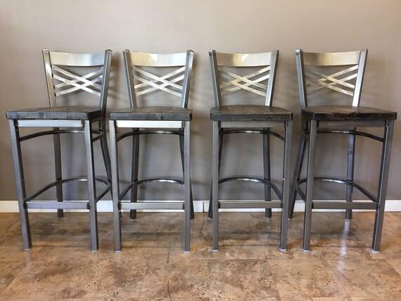 Fabulous Reclaimed Bar Stool Set Of 4 In Gun Metal Gray Metal Finish X Back Metal Restaurant Grade 30 Inch High Barstool Pabps2019 Chair Design Images Pabps2019Com
