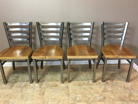 Reclaimed Dining Chair Set Of 4 In Gun Metal Gray Metal Etsy
