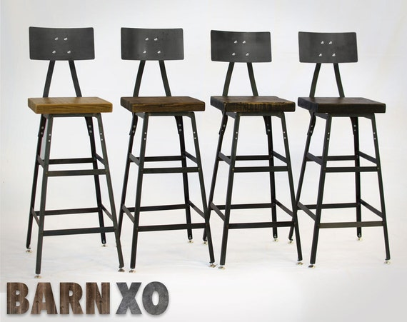 Swell Reclaimed Industrial Bar Stool Made In Chicago With Metal Backrest Set Of Four Fast Shipping Andrewgaddart Wooden Chair Designs For Living Room Andrewgaddartcom