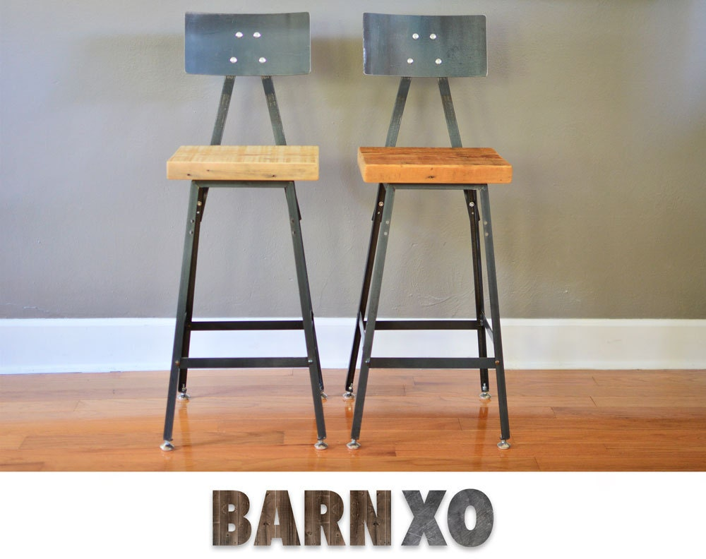 Urban Bar Stools Reclaimed Barn Wood Metal Backrest Set Etsy