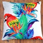 Tropical Cushion Cover, Caribbean Cushion, Colourful Cushion - Bird Of Paradise, Parrot