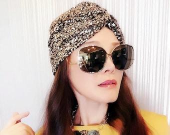 Sequin Turban,Womens Turban,Full Turban,Turban Headband,Turban Hat,Stretch Turban,Fashion Turban,Head Wrap,Head Scarf,Headband,Beautiful