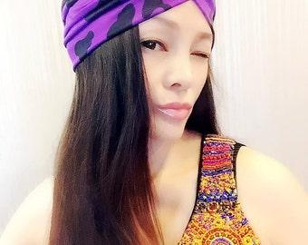 b667e97b95d67 Purple Black Dot Turban