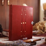 BOLYAR Journal I - A Leather Bound Journals with Minimal Tooling and Silver Clasp - Set with Rosewood Dip Pen