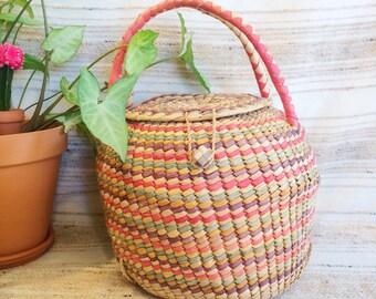 Vintage cobra basket/colorful woven coil plant holder/lidded basket with handles