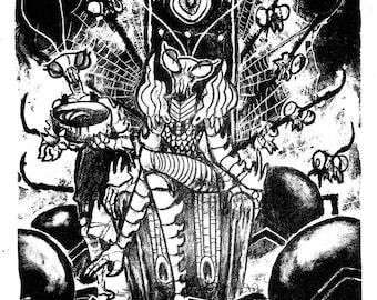 Queen Mantis Lithoprint