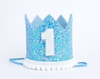 1st Birthday Hat Blue First Photo Props Baby White Party Decoration Boy Cake Smash Prop