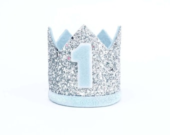 Ready stock -1st Birthday hat, silver hat, First Birthday Hat, photo props, silver,blue crown,light blue,Baby Boy Smash Cake Photo Prop