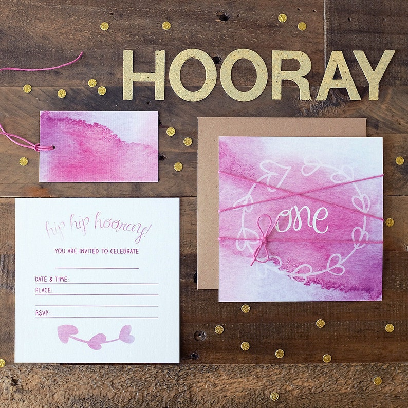 Made In Australia Pink Watercolour Party Bag Tags