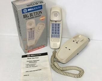 Retro AT/&T Trimline 210 Touchtone Black w// Phone Cord Atlanta 1996 Olympic Vtg