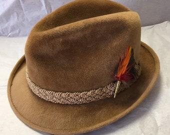 d049cf20 Vintage Stetson Genuine Velour Fedora The Sovereign Size 6 7/8 Tan Camel  Brown Pheasant Feather Brass Accent