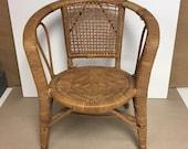 Vintage Retro SMALL CHILD Size Natural Wicker Rattan Barrel Back Chair