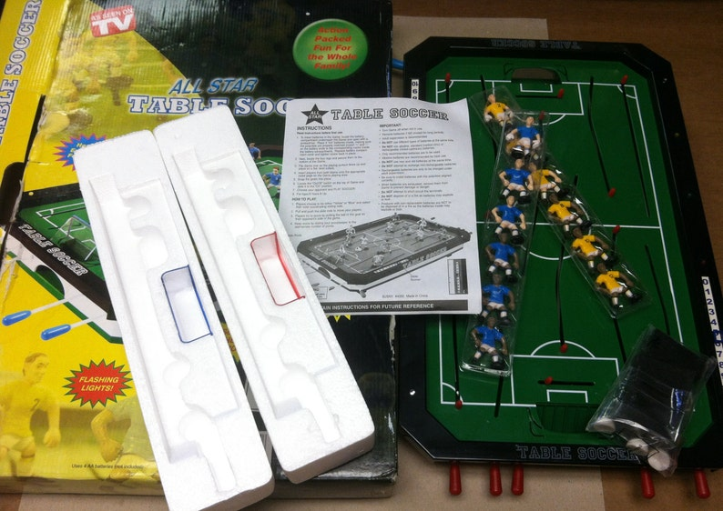 All Star Table Soccer Game As Seen On TV Lights & Sound Foosball In  Original Box With Instructions