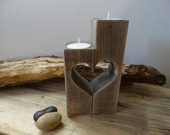 Rustic Heart Candle Holder, Valentines gifts , Wedding Gift, Rustic Candle Holder