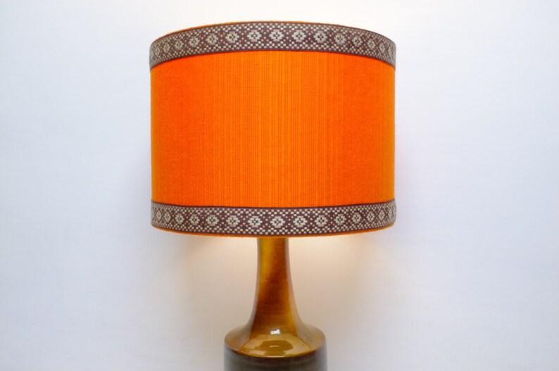 Magnifiek Retro lampenkap originele stof 30cm Drum 60s/70s oranje | Etsy @AD28
