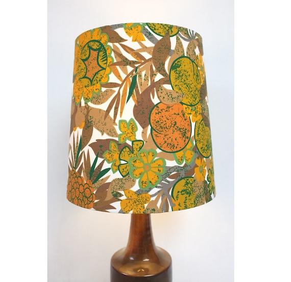 Trim Brown Vintage 60s//70s Original Retro Fabric Conical Lampshade