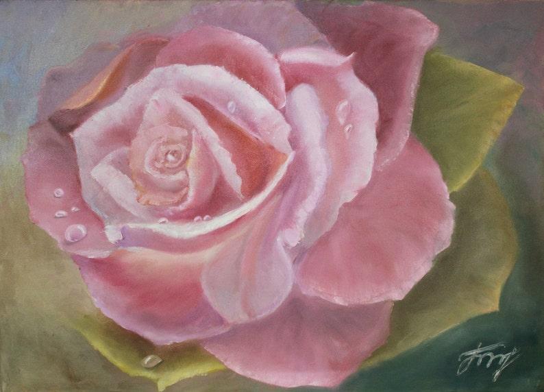 Fleurs La Rose Peinture A L Huile Contemporaine Etsy