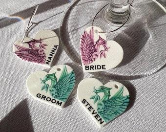 Liverpool Wedding - Wine Glass Charms - Personalised Liverpool Wedding Wine Glass Charms - Liverpool - Wine Glass Charm Wedding Favor