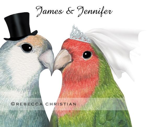 Personalised Wedding Gift Love Birds Print Wedding Gift Etsy