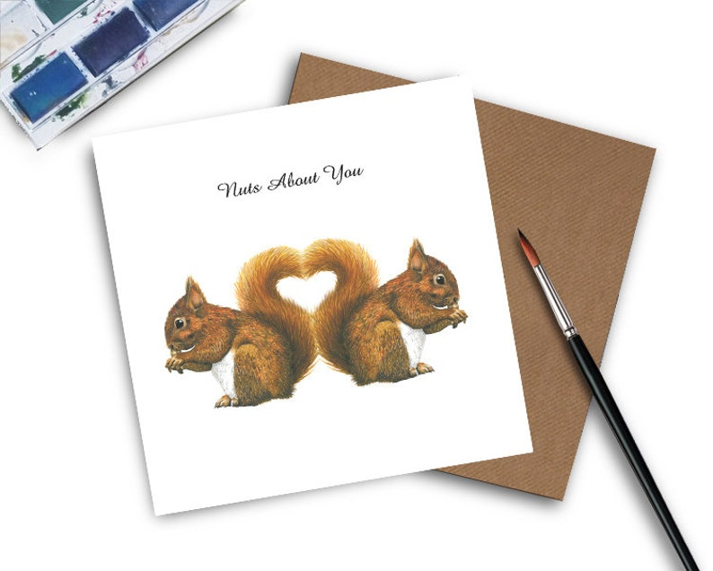 Cute Anniversary Card  Nuts About You  Squirrel Anniversary image 0