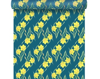 Daffodil Wallpaper - Floral Wallpaper - Watercolour Wallpaper - Feature Wall - Welsh Wall Art - Wallpaper UK - Floral Wallpaper Sample