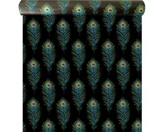 Peacock Feather Wallpaper - Feather Wall Décor - Designer Wallpaper - Wallpaper in the UK - Peacock Feather Wallpaper Sample