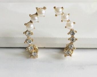 Gold Pearl Stud Earrings, Crystal Earrings, Romantic Earrings, Minimalist Earrings