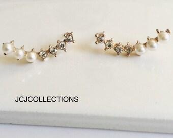 Rose Gold Pearl Stud Earrings, Crystal Earrings, Minimalist Earrings